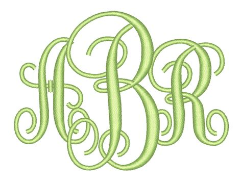 size interlocking monogram  letters embroidery font bx