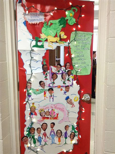 grinch classroom door door decor christmas door