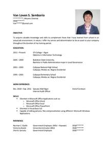 exle of application letter and resume for ojt sle resume for ojt