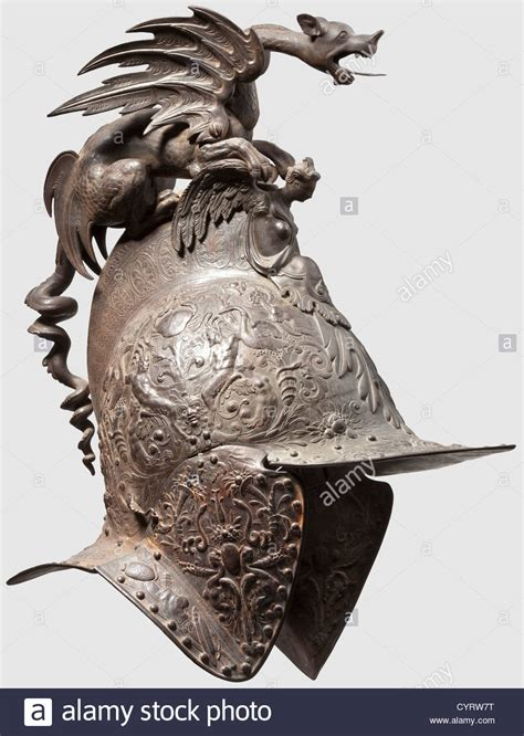 Cast Iron Chimera by A German Or Parade Helmet In Renaissance Style