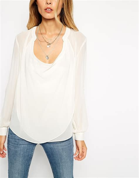 drape neck top lyst asos top with detail front and drape neck in white
