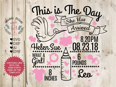 Browse our birth announcement card images, graphics, and designs from +79.322 free vectors graphics. Baby Girl Birth Announcement - Chart in SVG, DXF, EPS, AI
