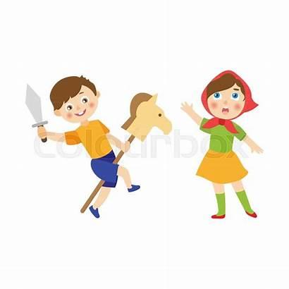 Play Role Acting Cartoon Children Boy Clipart