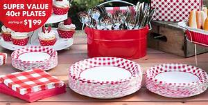 Red Gingham Value Plates & Tableware - Red Gingham