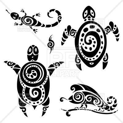 tribal polynesian tattoo lizard  turtle vector image  plants  animals  katyau