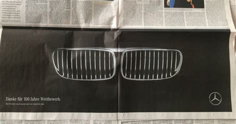 mercedes vs bmw ads bmw 39 s 100th anniversary brings out mercedes 39 humorous side