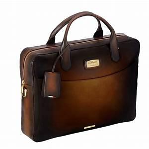 St dupont atelier tobacco brown leather laptop bag for Document holder bag