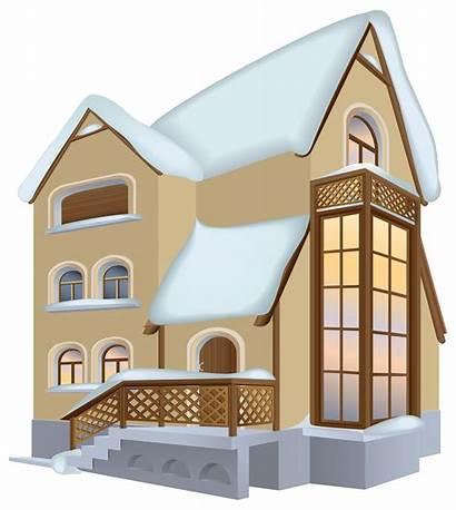 Clipart Winter Houses Cartoon Transparent Snow Clip