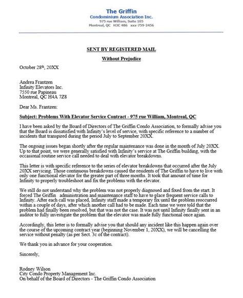 condo association complaint letter  elevator company