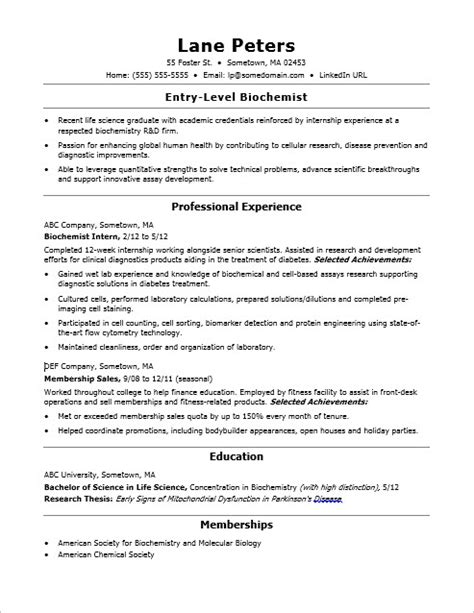 Entry Level Biochemist Resume by Entry Level Biochemist Resume Sle
