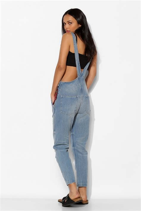 Lyst - Urban Outfitters Native Rose Embroideredpocket Denim Overall in Blue