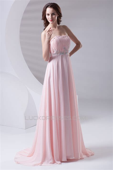 strapless beaded long pink prom evening formal