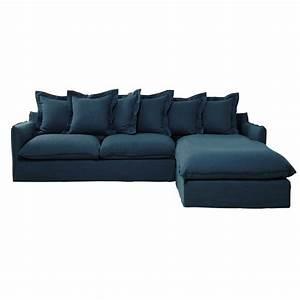 Canapé D Angle 7 Places : canap d 39 angle 7 places en lin lav bleu canard barcelone ~ Melissatoandfro.com Idées de Décoration