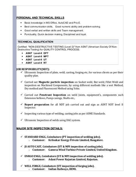 resume qa qc painting inspector