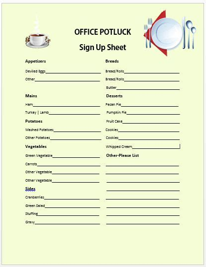potluck sign up template 13 stylish office potluck signup sheets for your next potluck demplates