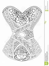 Corset Coloring Adults Roses Illustration Line Vector Therapy Preview sketch template
