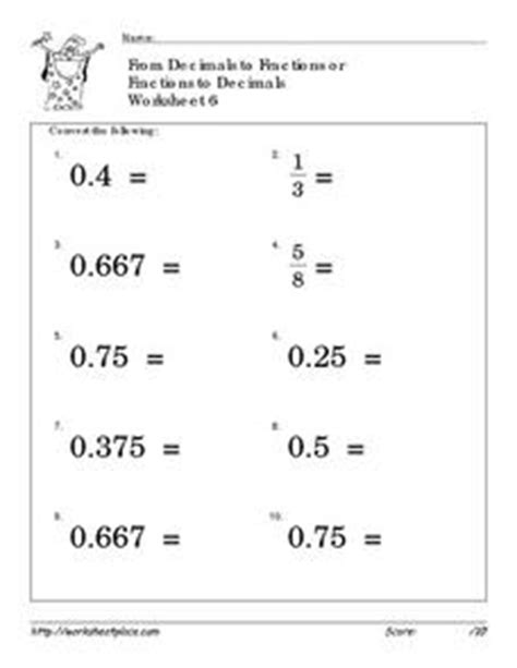 convert fractions and decimals 6 worksheet for 4th 6th