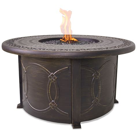 propane gas fire pit outdoor table by blue rhino blue rhino propane gas outdoor firebowl with cast aluminum