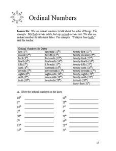 ordinal number lesson plans worksheets reviewed by teachers