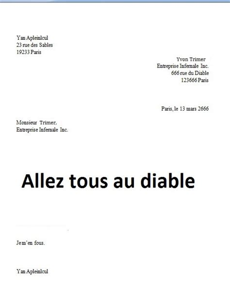 lettre pour abandon de poste