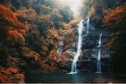 Forest Waterfall Fall Orange Pond Nature Landscape