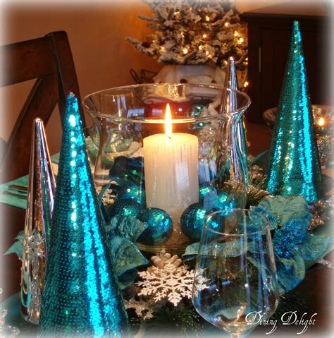 Dining Room Table Centerpiece Decor by Dining Delight Christmas In Teal Blue
