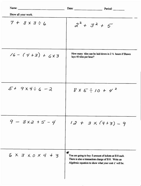 pemdas math worksheets gallery worksheet