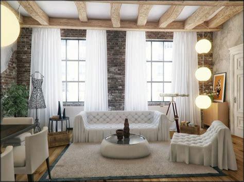 ideas de decoracion  pared de piedra  ladrillo cortinas  ventanas grandes