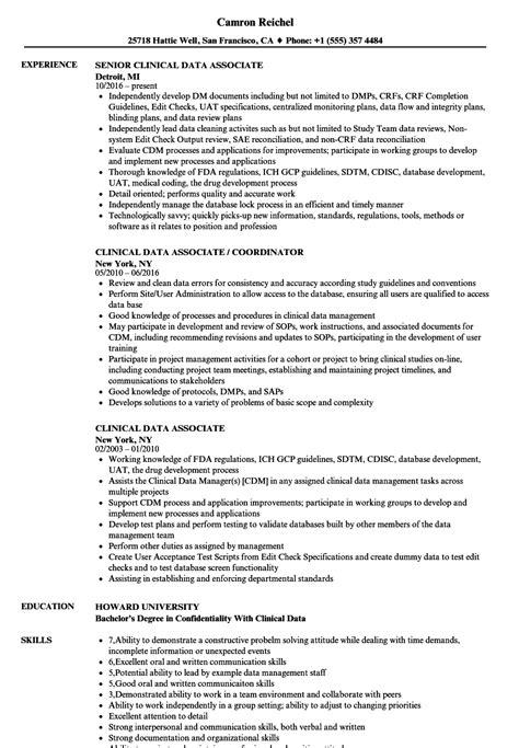 clinical data associate resume samples velvet jobs
