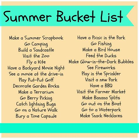 bucket list rosana 180 s 100 things to do in summer