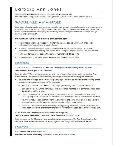 Social Media Manager Resume by Social Media Resume Sle