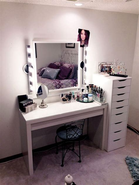 white desk with mirror and lights rectangle white wooden makeup table with square white