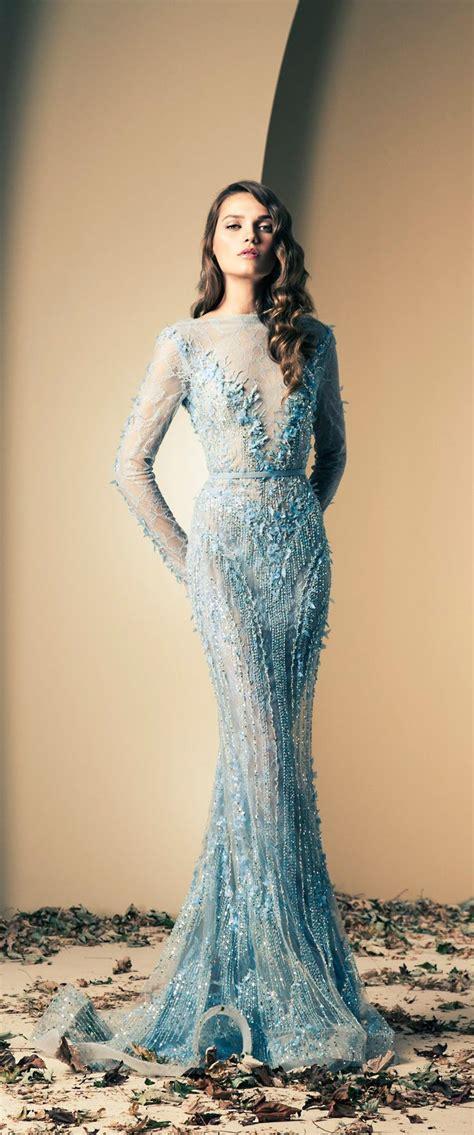 ziad nakad ice blue embellished wedding gown wedding