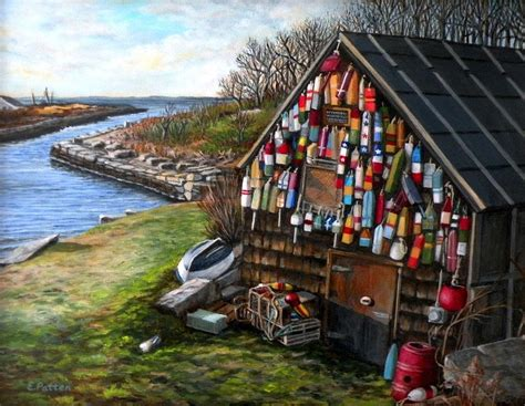 Ipswich Bay Wooden Buoys Painting by Eileen Patten Oliver