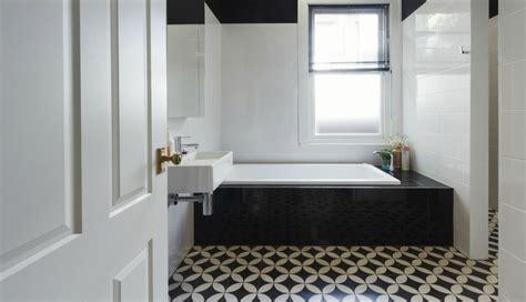 bathrooms  black  white patterned floor tiles