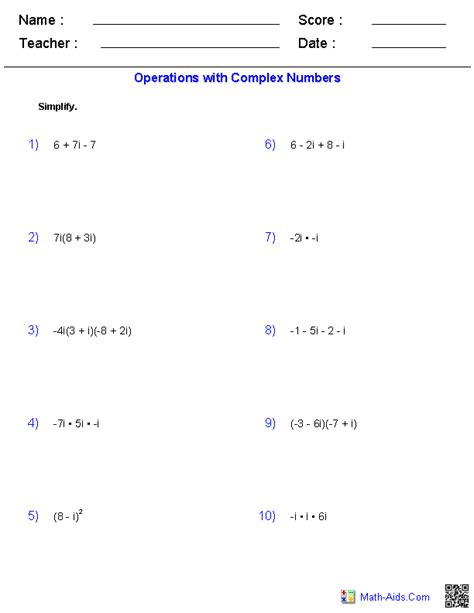 operations with complex numbers math aids