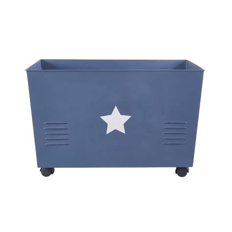 Caisse De Rangement Metal Caisse De Rangement 224 Roulettes En M 233 Tal Bleu Petit Bolide Maisons Du Monde