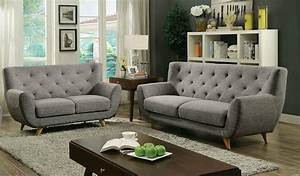 Carin mid century modern style light gray linen fabric for Modern contemporary linen sectional sofa with