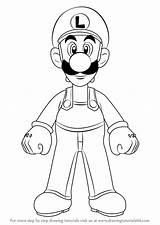 Draw Luigi Mario Drawing Step Learn Bros Cartoon Character Drawingtutorials101 Drawings Kleurplaat Characters Colorear Romper Games Tutorials Calendar sketch template