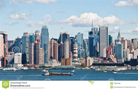 Living On A Boat In New York City by New York City Skyline Hudson River Stock Photo