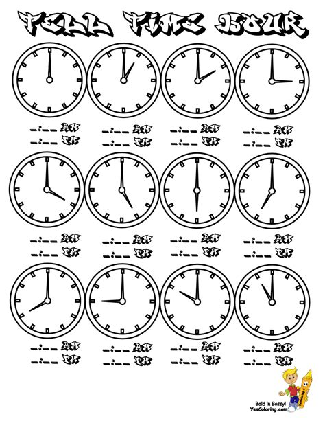 fearless hours clock coloring clocks free telling