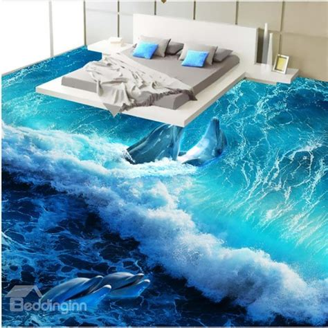 wonderful design happy dolphins playing   sea wave