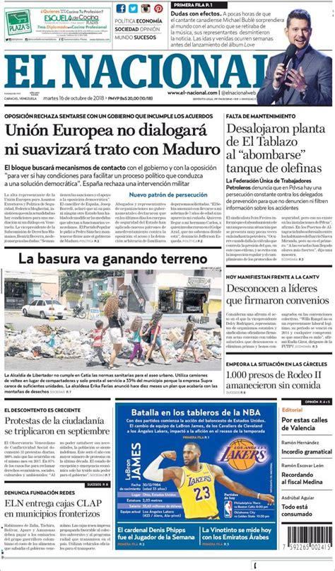Portada Martes 16 de Octubre-El Nacional (Venezuela ...