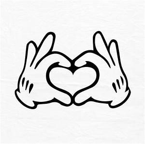 Glove Mouse Hand Heart Love Design Love SVG Disney Heart