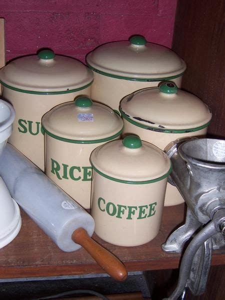 kitchen flour canisters five 1940 s and green enamelware canister set