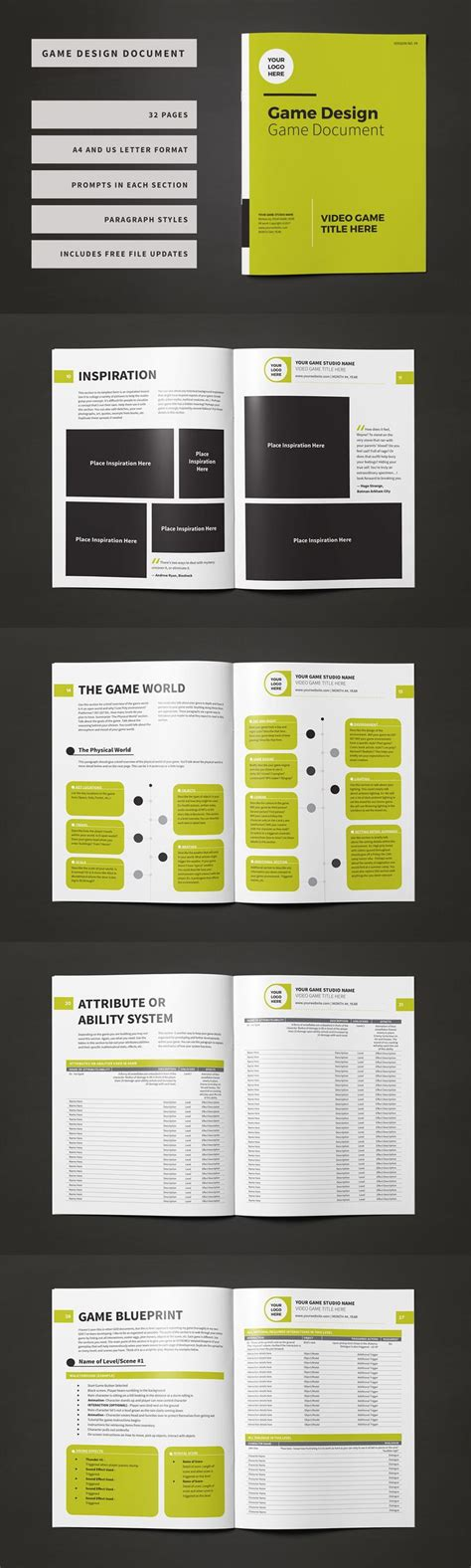 professionally designed  page game design document