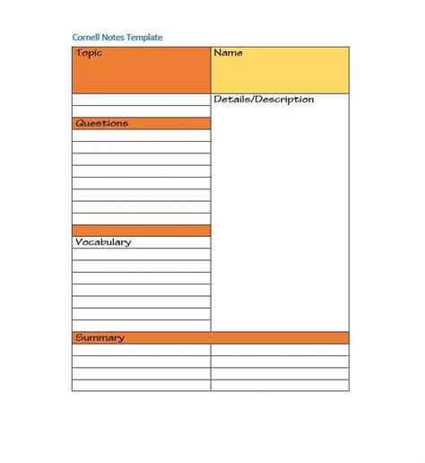 Cornel Notes Template Word by 36 Cornell Notes Templates Exles Word Pdf