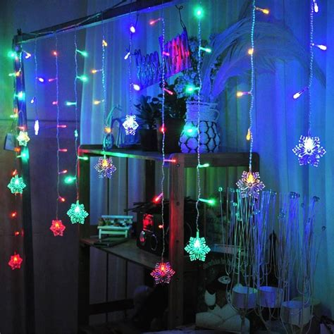 christmas window light decorations snow shape led curtain string 5m 216leds 36drop lines fairy light curtain icicle for wedding