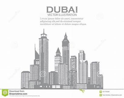 Dubai Skyline Panorama Sky Corel Betrag Himmelhintergrund
