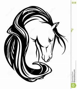 Pferdekopf Schwarz Weiß : pferdekopf mit schwarzweiss vektordesign der langen m hne ~ Watch28wear.com Haus und Dekorationen
